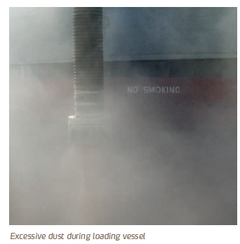 Excessive dust during loading vessel